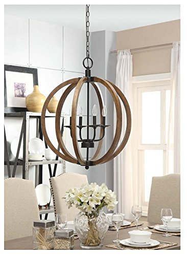 Contemporary Metal And Wood Frame Orb Chandelier Rolomon